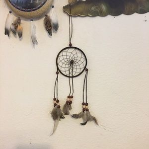 Handmade dreamcatcher leather wood beads feathers